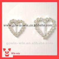 heart shape rhinestone ribbon slider buckle