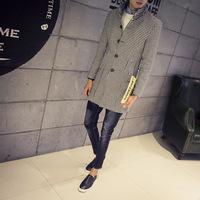 2015 Autumn winter hot woolen cloth dust coat men's clothing business cloth coat men long coat