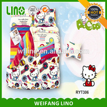 Plain Style and 100% Polyester Material hello kitty 100% polyester bedding set