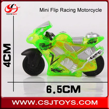 Promotional 6.5CM Plastic toy motorbike Friction Inertial Stunt Gyro Wheel High speed mini flip racing motorcycle with light