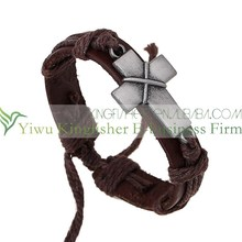 New fashion leather wrap women cross bracelets made in China wholesale