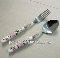 Stainless Steel Fork Spoon Knife With Porcelain Handle