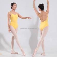 11514109 Camisole Low Back Ballet Leotards Yellow dance wear activewear