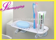 Jabón titular de cepillo de dientes y rack con la taza de succión& dispensador de jabón y cepillo de dientes titular