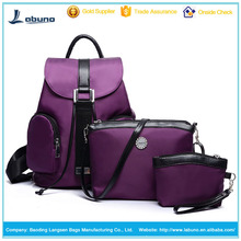 Factory Sales nylon backpack and handbag set 3 pcs for fashion leisure girls women