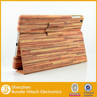 wood design leather cover for ipad 5,flip leather case for ipad air