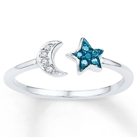 Moon and ster fashion rings blue sapphire silver ring models