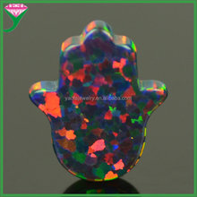 OP32 ethiopian black opal 8x10mm opal hamsa hand pendant synthetic black opal gemstones