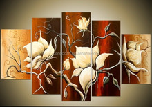 Flower oil painting on canvas for wall art decor,Manufactor brand hand-painted canvas flower oil painting