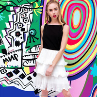 YIGELILA Brand 61011 Latest 2015 Summer Women O-neck Sleeveless Empire Ruffles Tank Casual Dress Pleated Dress Black And White