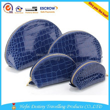 Wholesale fashion Korean Fake snakeskin dumplings PVC 4 pcs Glossy cosmetic bag set