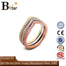 china factory direct wholesale 925 silver diamond ring, 3-color ring