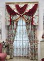 100% poliéster jacquard de encaje elegante cortina de la ventana con simple cenefa, tafetán forro, dos borlas