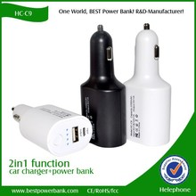 HC-C9 2in1 Power bank with Car charger and 4 led light indicator