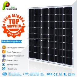 Powerwell 130W Solar Panel with TUV/IEC/CE/CEC Certificates made of A-grade high efficiency crystalline silicon cells
