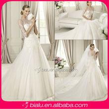 2014 sexy 3/4 sleeve wedding dress