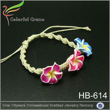 três colorido fimo hibiscus pulseira espiral honolulu trançada pulseira