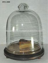 pastel de vidrio con soporte de madera cúpula mujeebsons
