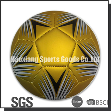 golden color machine stitched pu matte football