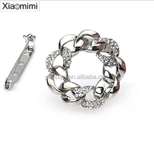 Factory outlets beautiful two-color gold and silver diamond brooch scarf buckle dual