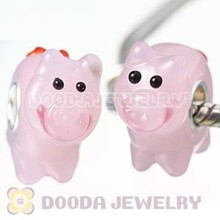 Cheap Cute Pink Little Pig Jewelry Animal Lampwork Glass Beads in 925 Silver Core