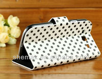 Newest polka dot flip leather case for Samsung Galaxy S3 S III I9300