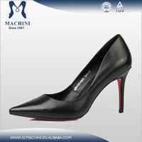 Genuine leather pump high heels red sole black high heels women red bottom heels