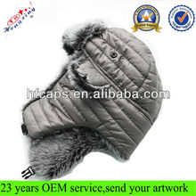 Snow ski wool buffaro check rabbit fur aviator winter trapper hat with ear flaps