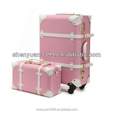 "Women Travel Bags Classical Vintage Trolley Luggage PU Leather Travel Suitcase Universal Wheels Luggage Sets 22"" 24"""