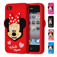 3D Cartoon Lovely Minnie Mouse Style Soft Silicone Case Cover for iphone 5s