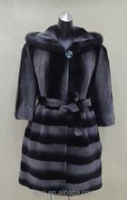 elbow-length Strip Color High Quality Fox Fur Sleeve and Mink Fur Hat Rex Rabbit Woman Overcoat