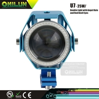 25W U7 super bright refitting accessories of motorcycle with optical glass lens and colorful angel eyes