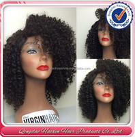 Afro kinky curly human hair lace front wigs with bangs for black women