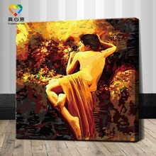 diy painting by number kits 2015 hot selling product semi-nude art painting