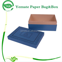 new arrival dark blue printed rigid paper gift card craft box with neck