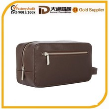 Black leather men travel toiletry bag for woman and man