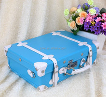 blue handle wooden PU leather storage box for home