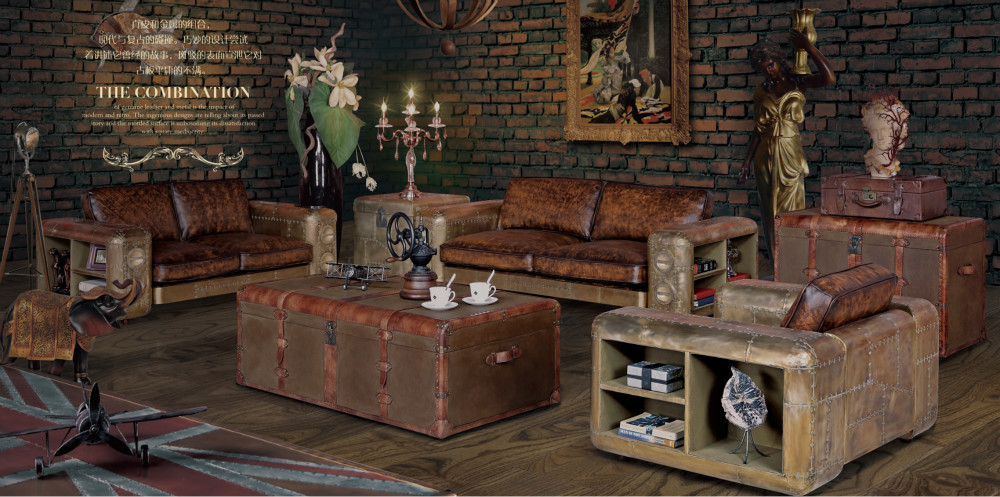 Metal And Leather Vintage Furniture