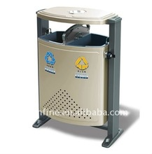 large outdoor recycling metal trash can