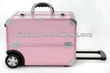 Pink high quality aluminium trolley professional make up case, delicate and practical travel trolley jewelry case for salesman