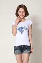 wholesale cheap custom scoop neck t shirt with embroidery