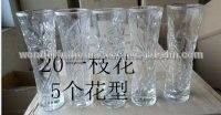 Flor- en forma de florero de vidrio/alto de cristal blanco florero/jarrón de cristal transparente