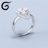 rhodium plated ring with cz stones of 925 sterling silver jewelry