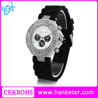 High Quality silicone strap geneva quartz japan movt watch with interchangeable straps