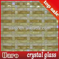 wholesale wavy rainbow color glass mosaic strip tile