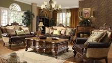 antiguo estilo americano sólido de madera clásica sala de estar con conjuntos de cuero y sofá de la tela
