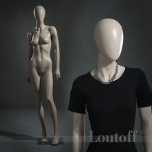 Egg head fiberglass mature female mannequin