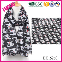 Hot sell polyester cat printed scarf with stock