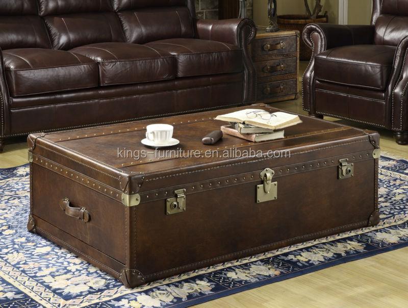 빈티지 가죽 트렁크 커피 테이블/현대 커피 테이블/나무 트렁크 ...