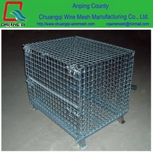 Manufacture standard quality galvanized warehouse stackable storage cage for sale , lockable steel wire folding storage cage.